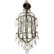 Antique French Tiered Crystal and Beaded Lantern Style Chandelier