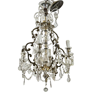 French 19th Century Four-Light Crystal Chandelier with Glass Arms