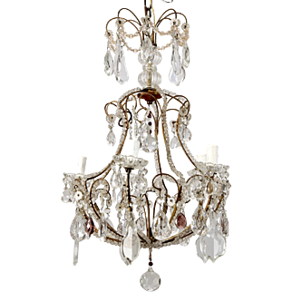 French Five-Light Tiered Crystal & Beaded Chandelier