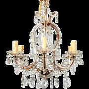 Heavily Beaded Small Six-Light Maria Theresa Chandelier