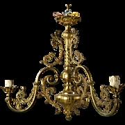 French Three Light Solid Cast Brass Chandelier, c.1920