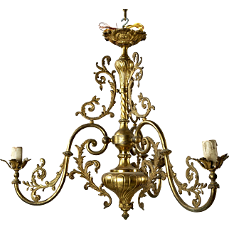 French Three Light Solid Cast Brass Chandelier, c.1920