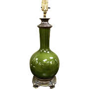 19th Century Green Glazed Chinese Porcelain Vase Table Lamp