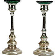 Antique Pair of English Mercury Glass Candlestick Holders With Green Bobeches