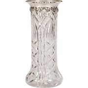 English Carved Crystal Vase with Sterling Silver Rim