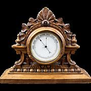 Antique English Edwardian Carved Wood Mantel Tabletop Barometer