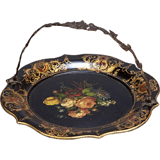 19th Century Flowered Papier Mache Plate With Handle