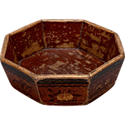 Vintage Chinese Decorative Wooden Hand-Painted Octagonal Bowl