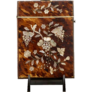Victorian Faux Tortoise Shell Card Case with Mother of Pearl & Abalone