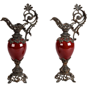 Vintage Pair of Tall Red Ceramic & Cast Bronze Ewers