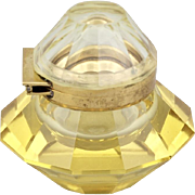 Art Deco Octagonal Gold Glass Inkwell
