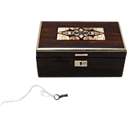 19th Century Karlsbad Rosewood Box with Pietra Dura & Sterling