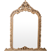 French Hand Carved Pine Crested Mantel Mirror c.1850