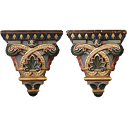 Pair of Italian Painted and Gilded Plaster Wall Brackets