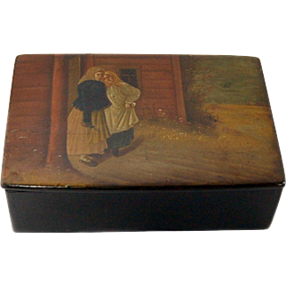 Antique Russian Hand-Painted Lacquer Box