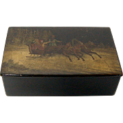 Russian Hand-Painted Troika Lacquer Box