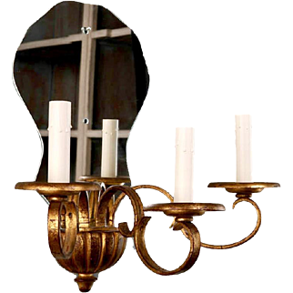 Pair French Three Light Mirrored Giltwood Sconces