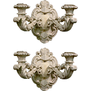 19th Century Italian Wide White Plaster Two Light Wall Sconces - Pair