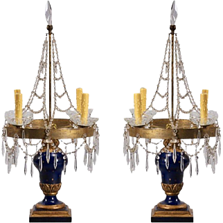 Pair of 19th Century Swedish Candelabra Table Lamps