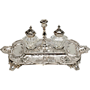 19th Century Silver Plated Inkwell with Bottles and Candle Holder