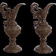 Pair Art Nouveau Bronze European Decorative Ewers