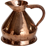 19th Century 2 Gallon Pitcher Shaped Copper Grain Measure