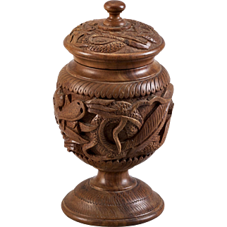 Chinese Carved Wood Tobacco Jar with Turned Lid