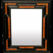 19th-Century Dutch Ebonized and Burl Wood Wall Mirror