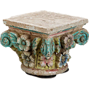 Antique French Cement Capital with Painted Flowers