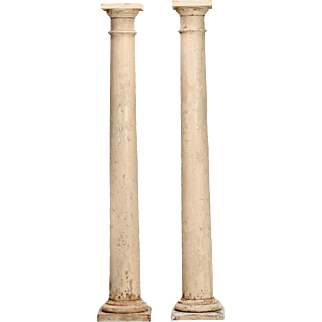 Pair of Architectural Salvage Antique White Painted Wood Columns