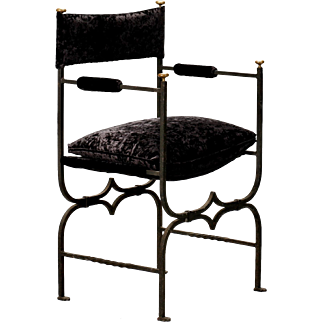 French Empire Style Iron and Velvet Arm Chair