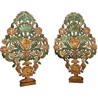 Pair 19th Century Italian Pressed Metal Table Appliques or Lights