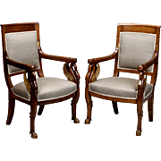 Pair 19th Century French Empire Mahogany and Parcel Gilt Chairs