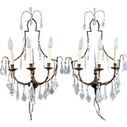 Antique French Delicate Three Light Crystal Sconces - Pair