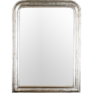 French Louis Philippe Silver Leaf Wall Mirror