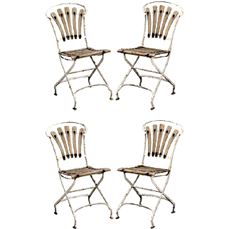 Set of 4 English Garden Wood and Metal Chairs