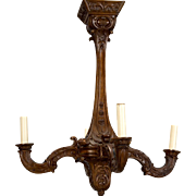 19th Century French Carved Walnut Four Arm Chandelier