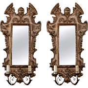 Pair 19th Century Gilded Wood and Gesso Italian Sconces