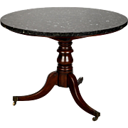English Georgian Mahogany Side Table with Black Granite Top