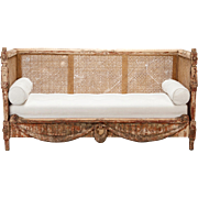 19th Century Swedish Settee with Carved Base and Caned Back