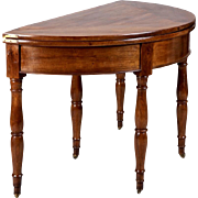 19th Century French Walnut Flip Top Demi Lune Game Table
