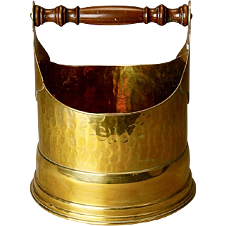 19th Century French Brass Bucket with Turned Wood Handle