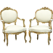 Pair 19th Century Gilded Louis XV Style Fauteuils