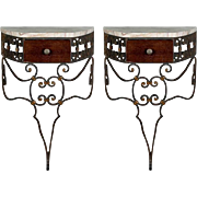Pair French Wrought Iron Wall-Mounted Consoles with Marble Tops