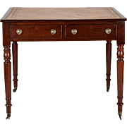 19th Century English Mahogany Writing Table with Leather Top