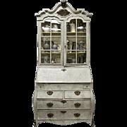 18th Century Swedish Painted Bureau Bookcase