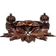 19th Century Large Black Forest Carved Inkwell