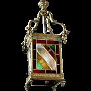19th Century English Leaded Glass and Brass Lantern