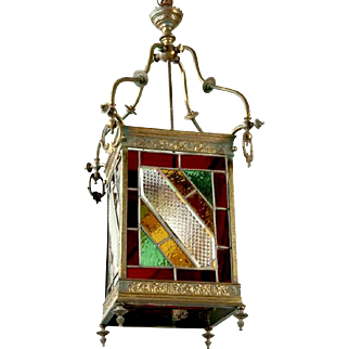 19th Century English Leaded Glass and Brass Lantern