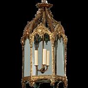 19th Century French Gilt Bronze Hall Lantern